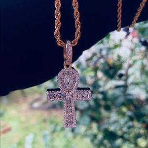 💎14K Vermeil lab Diamond Ankh Cross necklace💎